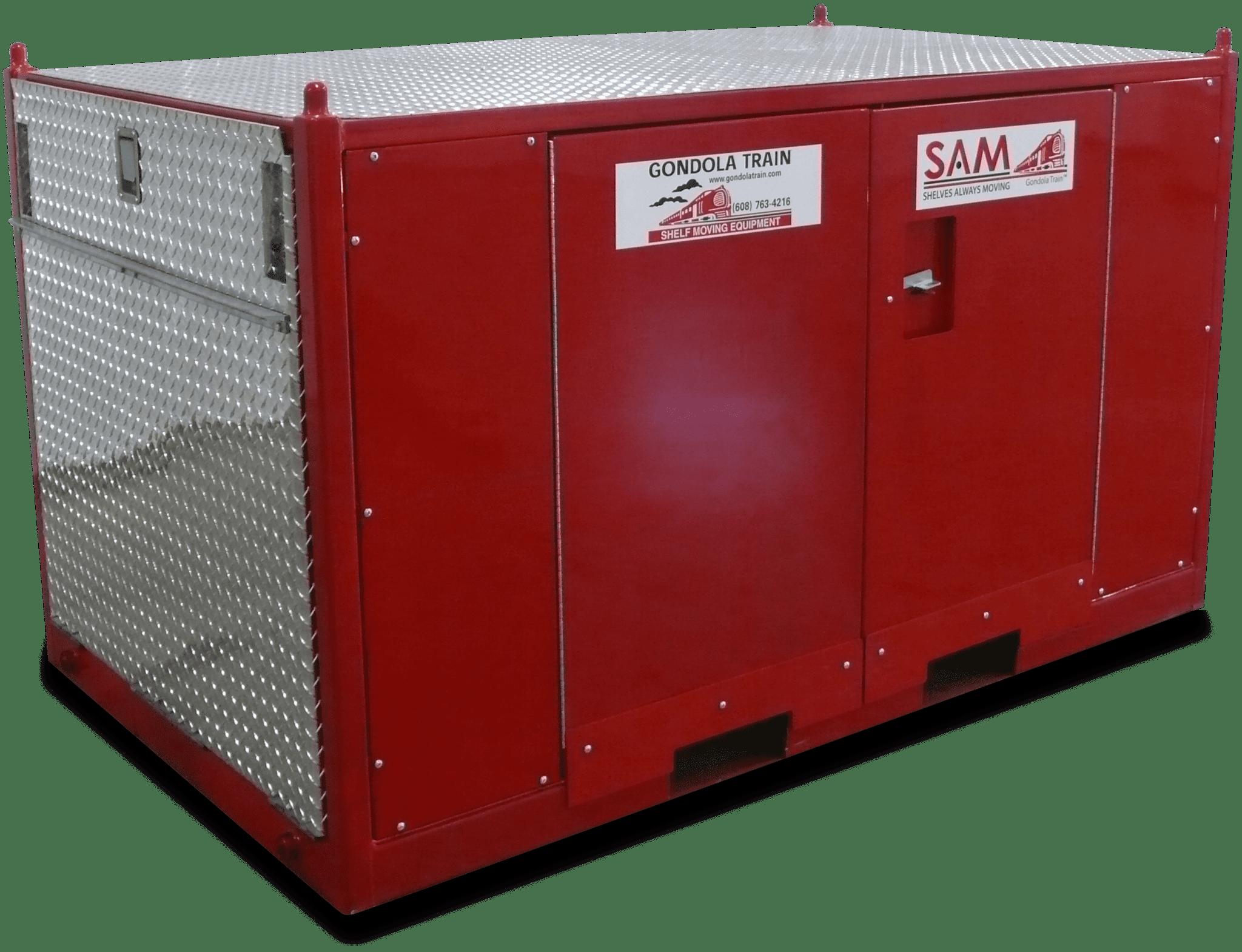 Red diamond plate equipment storage box.