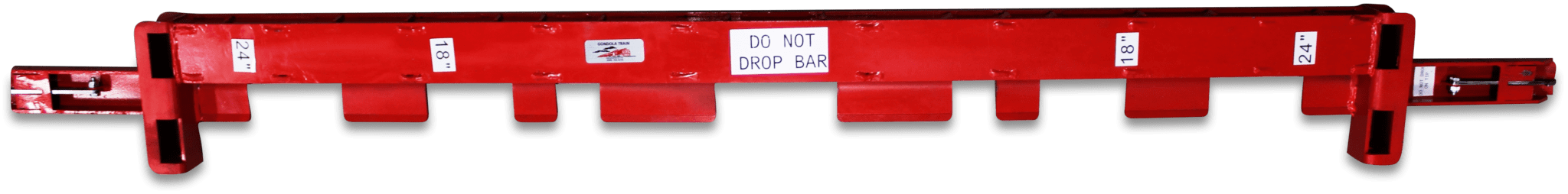 Red Gondola lifting bars.